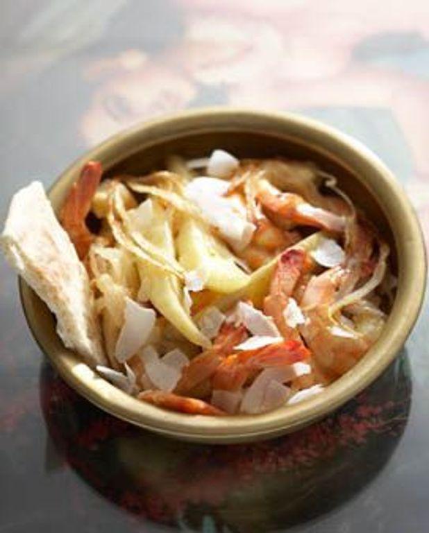 Crevettes et mangue au coco