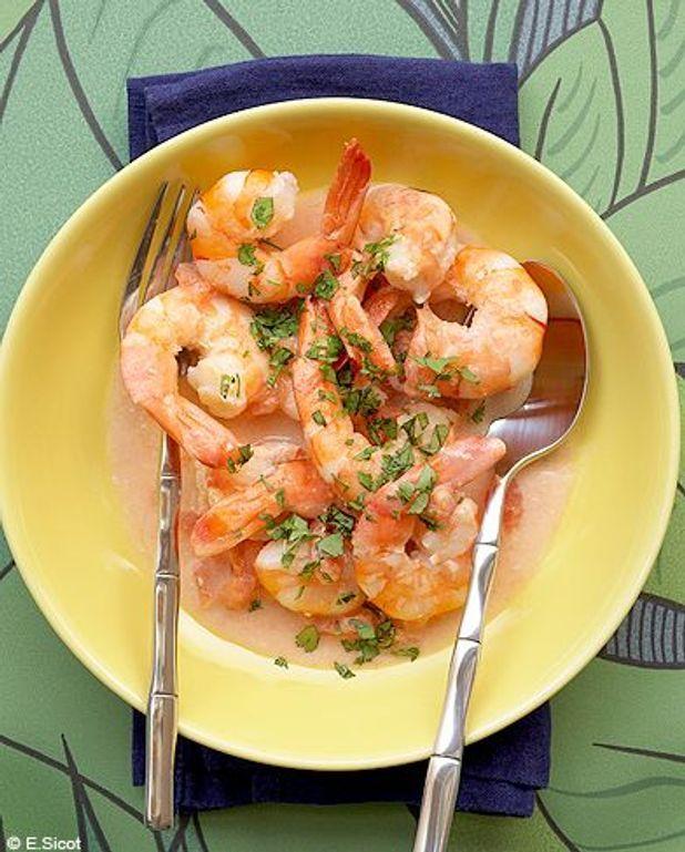 Crevettes en sauce coco rose