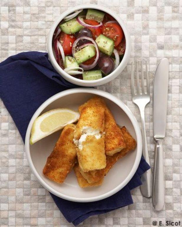 Feta frite et salade grecque
