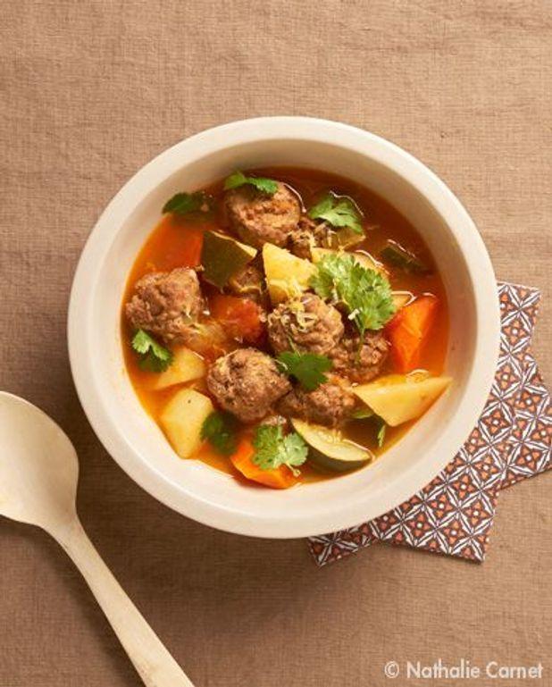 L'exotique : soupe aux boulettes d'agneau