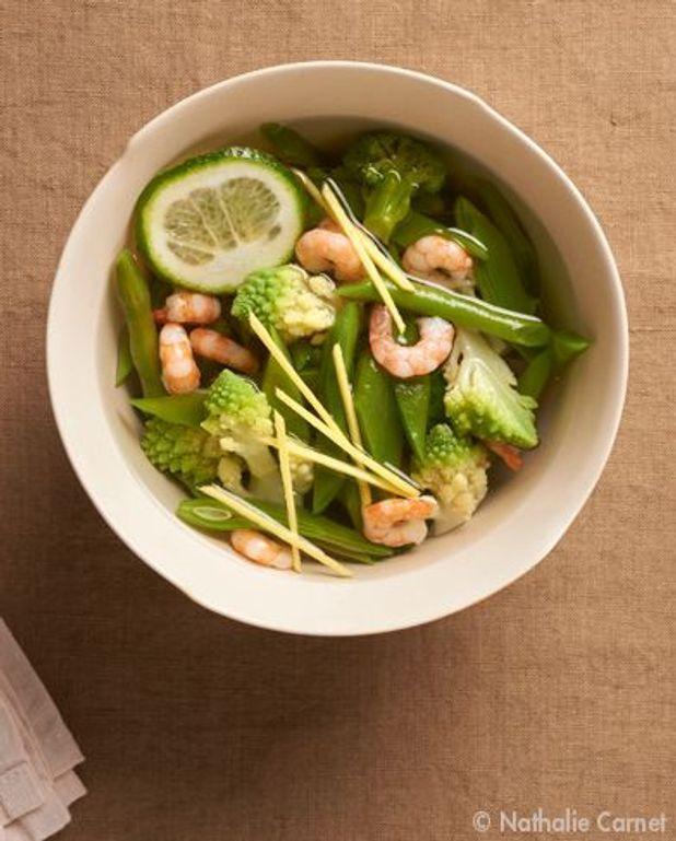 La diététique : bouillon aux crevettes