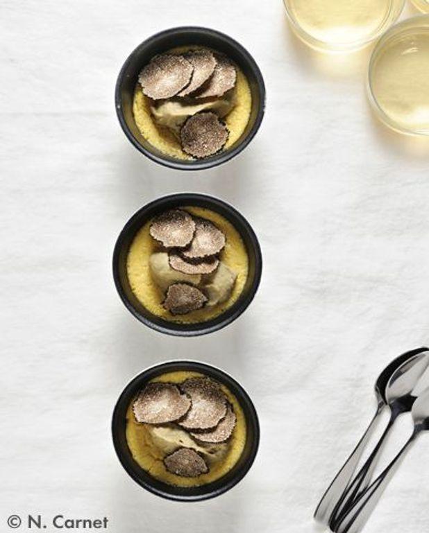 Royale de foie gras, lentilles à la truffe