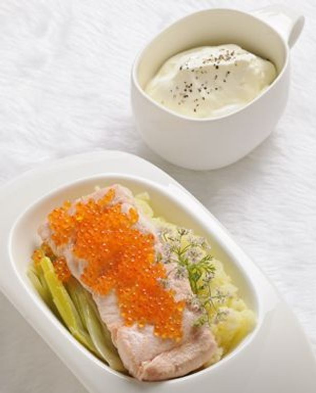 Saumon de Norvège, légumes et crème