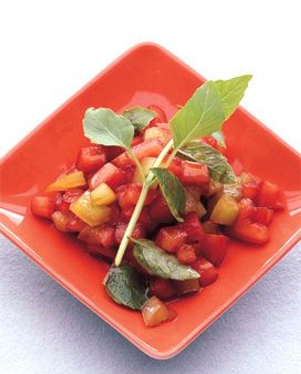 Concassée de tomates jaunes et rouges