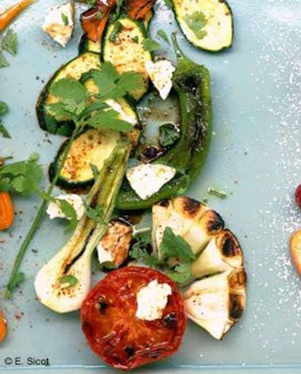 Légumes grillés et feta allégée