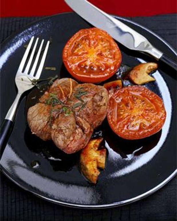 Paupiettes de boeuf et tomates aux cepes