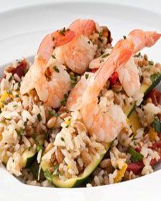 Courgette farcie aux crevettes et riz aux légumes