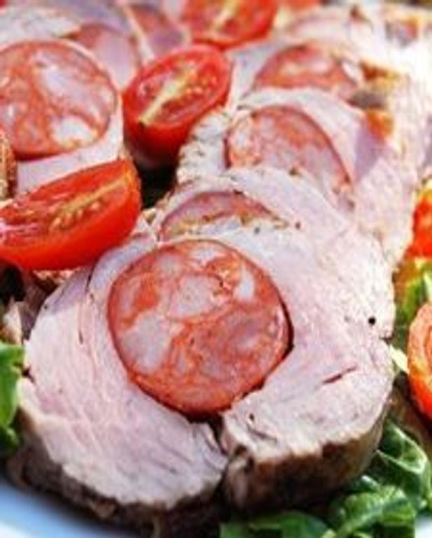 Filet de porc farci au chorizo et galettes de polenta au parmesan
