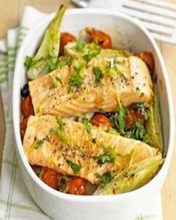 Filet de saumon au fenouil et tomates