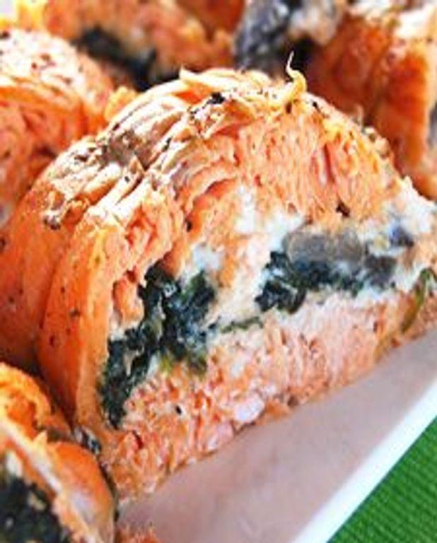 Filets de truite saumonée farcis aux champignons et épinards