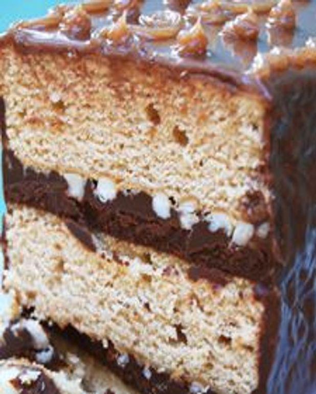 Gâteau à la crème de marrons, ganache caramel au chocolat