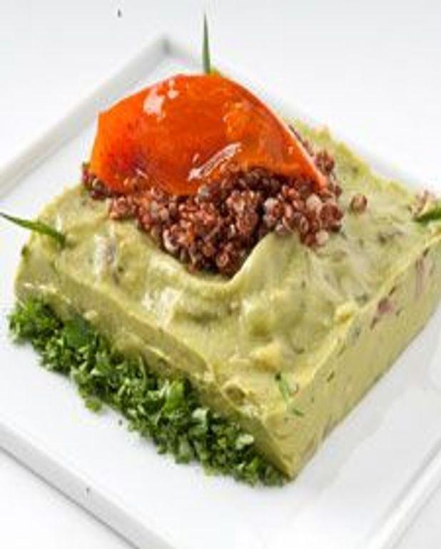 Guacamole glacé, kaki et quinoa