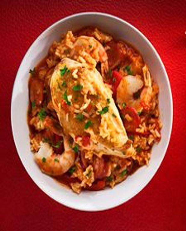 Jambalaya au poulet, mer et terre
