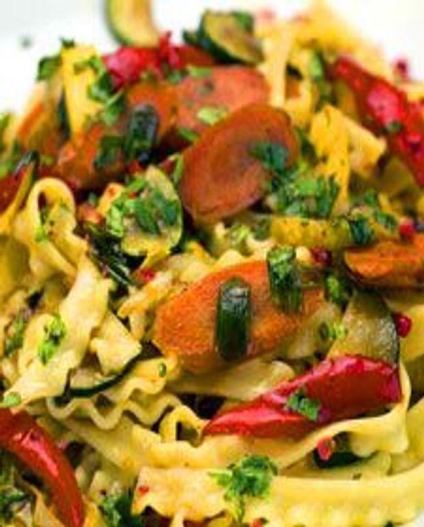 Lasagnette et légumes au piment fort