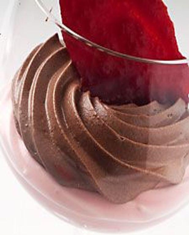 Mousse choco-fraise en duo