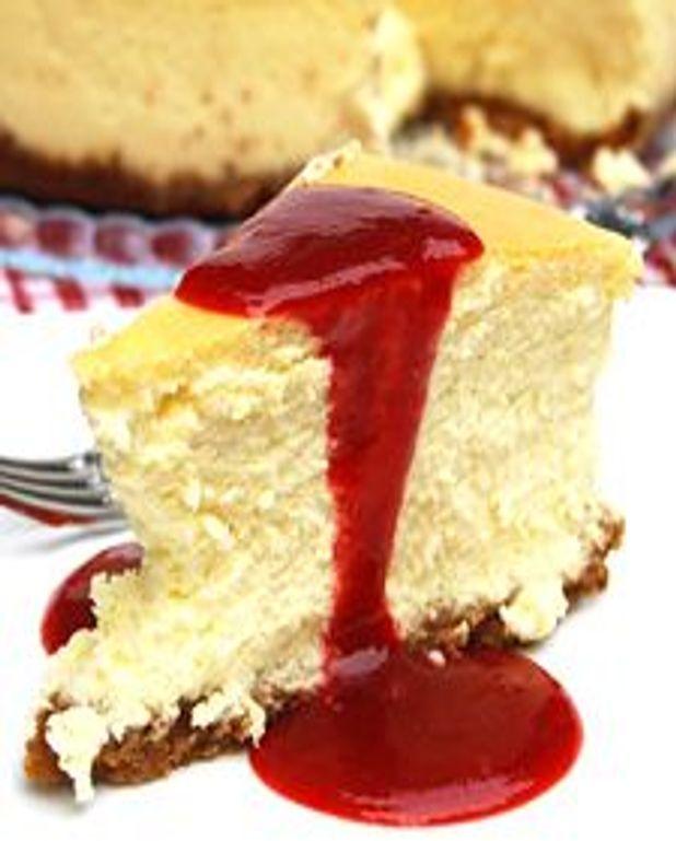 Parfait gâteau au fromage, coulis de fraises à l'érable