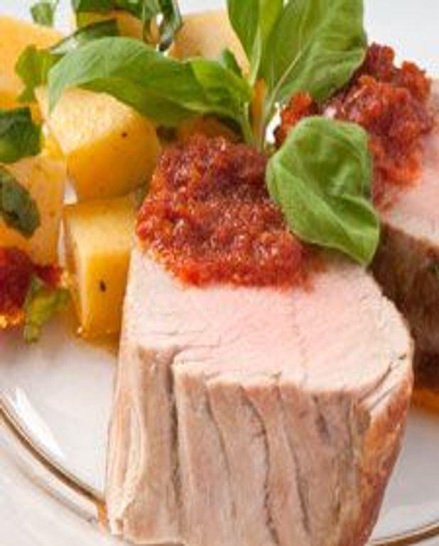 Porc au pesto de tomates séchées et basilic