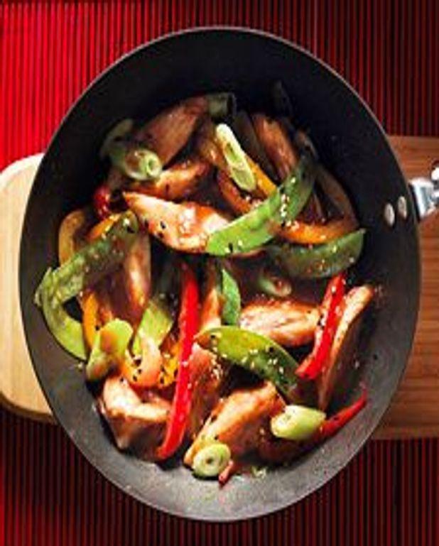 Poulet et légumes sautés, sauce sucrée-salée