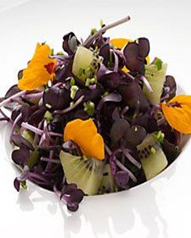 Pousses de chou en salade au kiwi