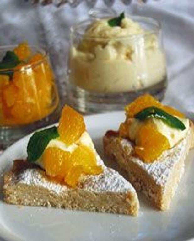 Sablés à la cassonade, mascarpone à l'orange