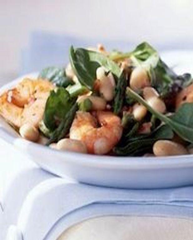 Salade crémeuse citron aneth aux crevettes et haricots blancs