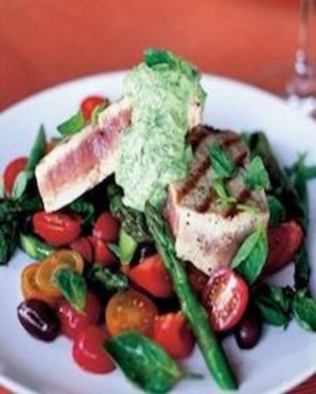 Salade de thon cuit avec crème fraîche au basilic