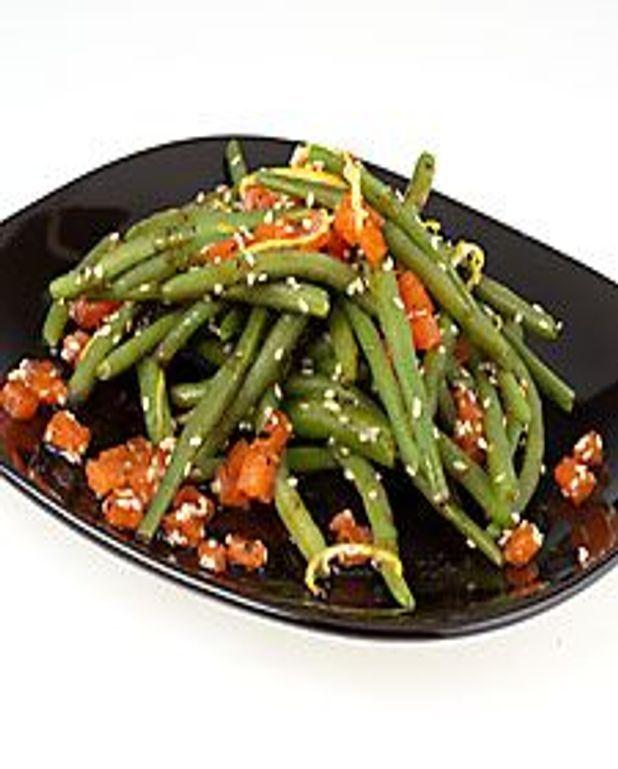 Salade tiède de haricots et truite