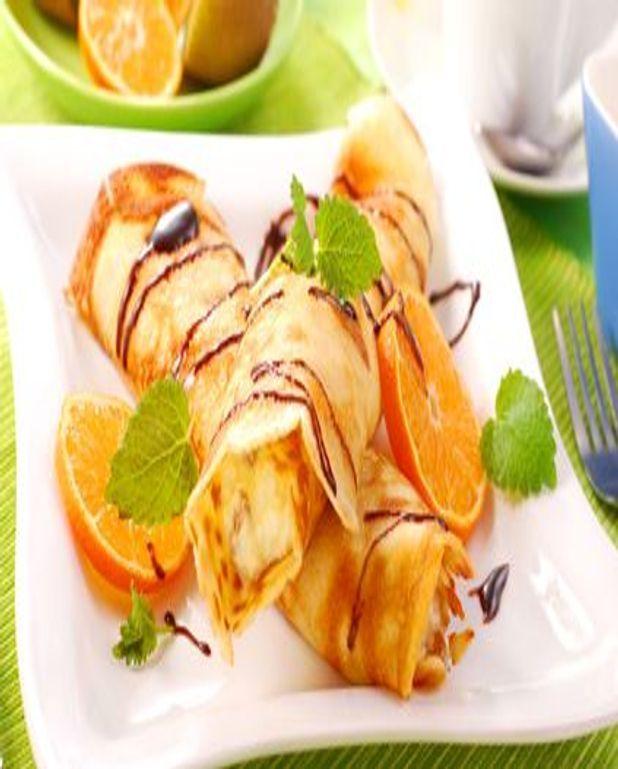 Crêpes à l'orange nappées de chocolat