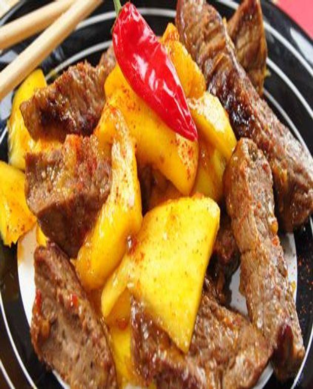 Emincé de dinde au curry et à la mangue