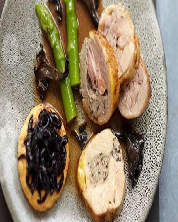 Emincé de dodine de pintade farcie aux champignons