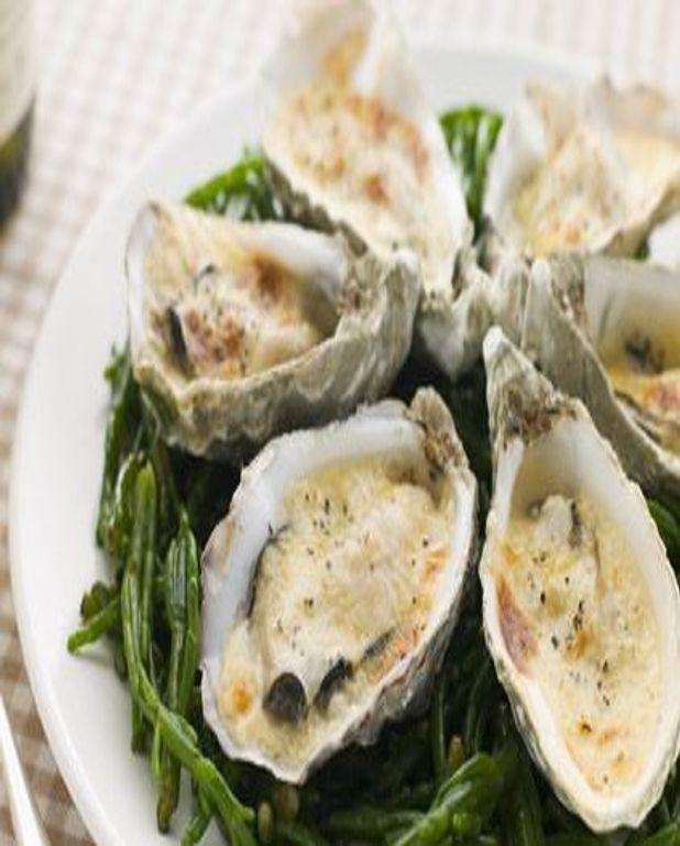 Gratin d'huîtres aux grillonnettes fumées
