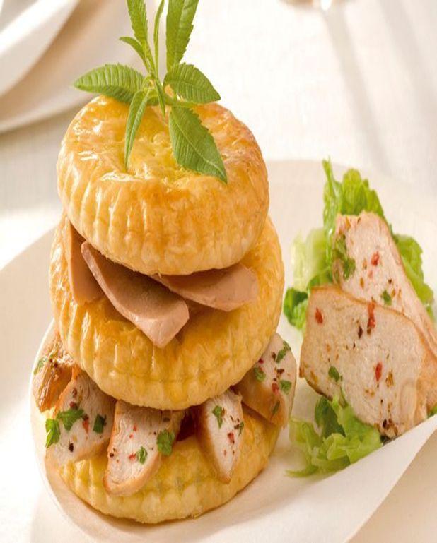 Millefeuille de Pintade au Foie gras, embeurée de chou