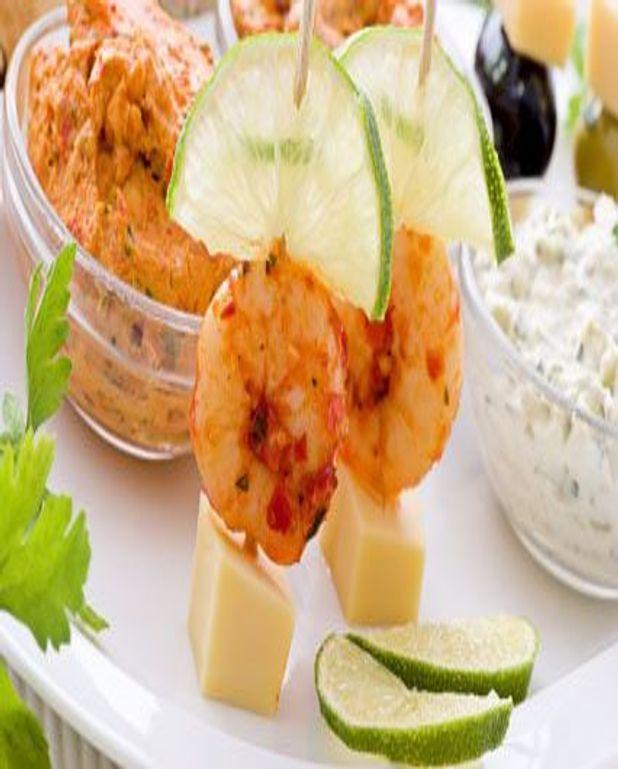 Mini brochettes de crevettes épicées