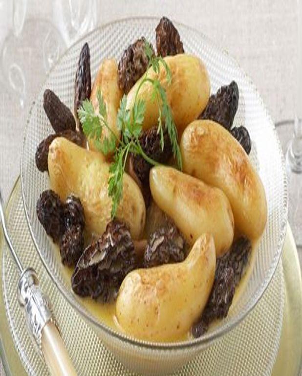Poêlée de Pommes de terre aux morilles et à la crème de morbier