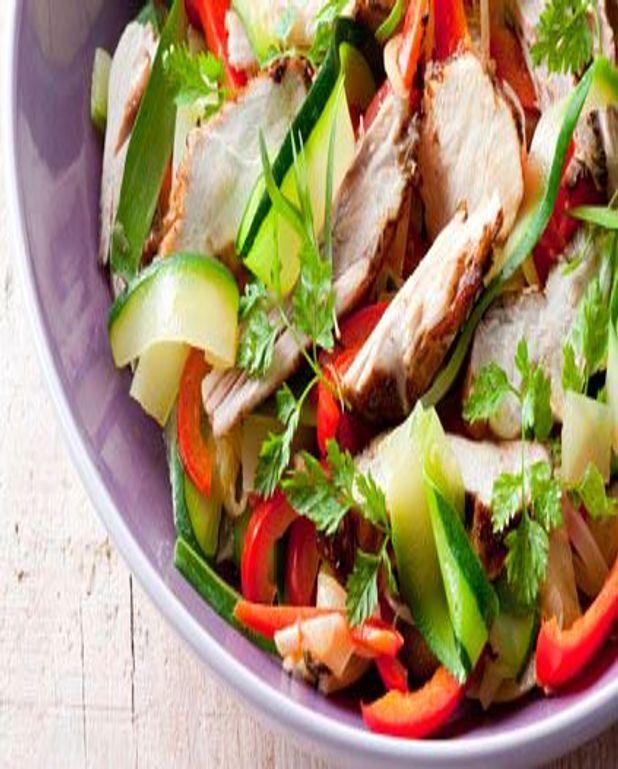 Salade de Poulet Fermier d'Auvergne, Tagliatelles de légumes d'été en ratatouille servies glacées