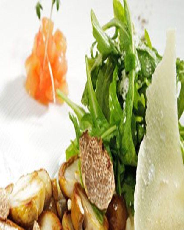 Salade de roquette aux truffes et au vinaigre de vin blanc