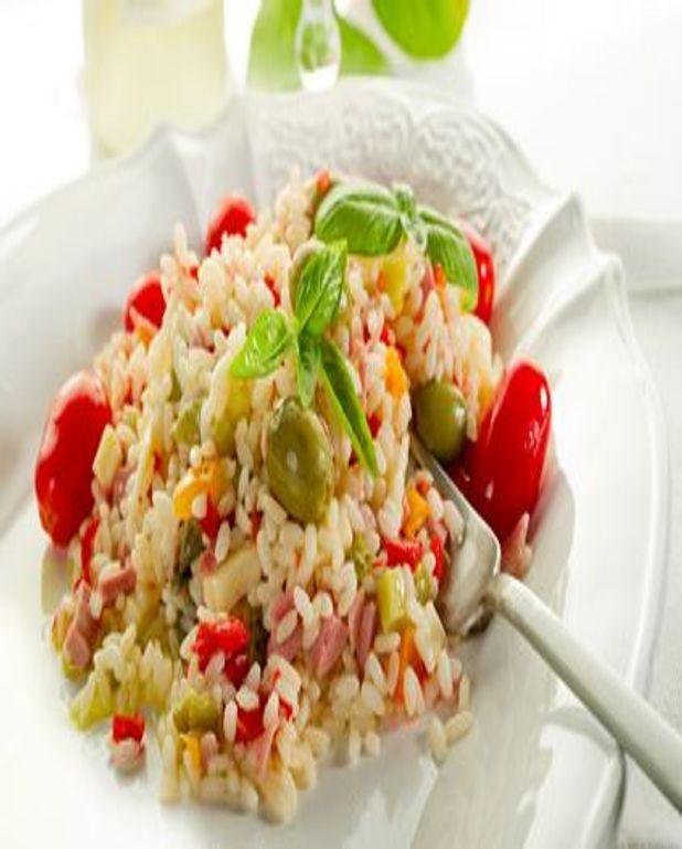 Salade riz et jambon