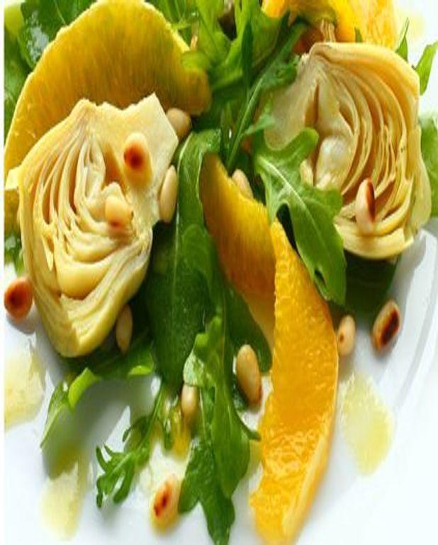 Salade tiède d'artichauts à l'orange