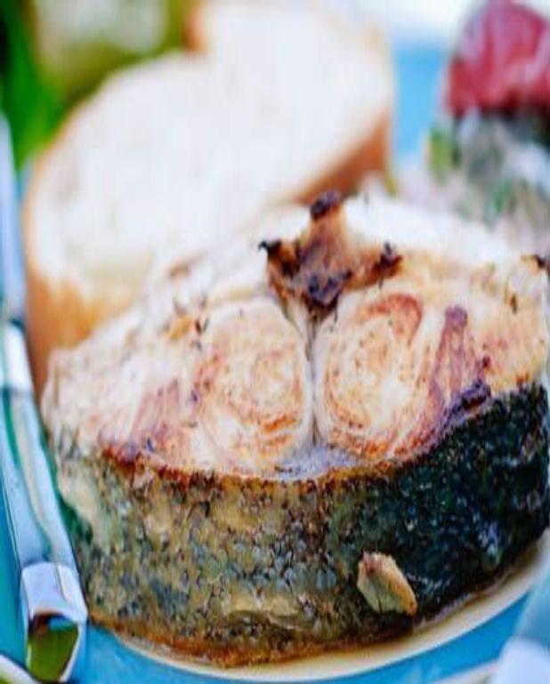 Steaks de thon à l'huile de noix et accras de potiron