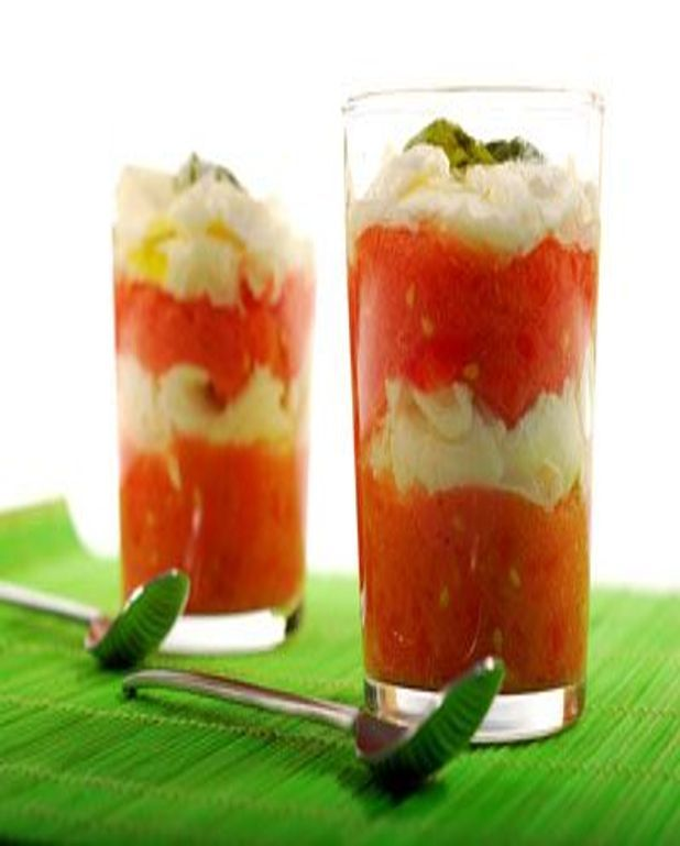 Verrines tomates, chèvre et lardons