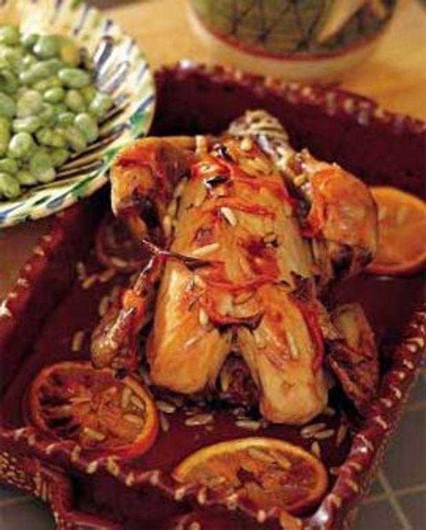 Poulet au citron et salade de fèves à la sarriette