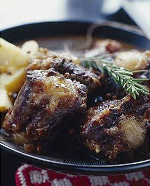 Queues de boeufs, pommes de terre tièdes et vinaigrette