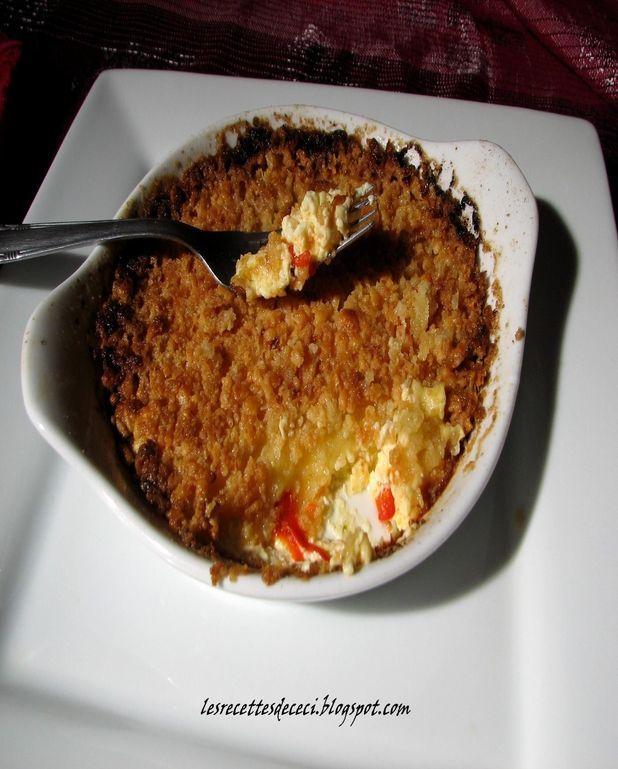 Crème Brulée aux poivrons rouges et son crumble
