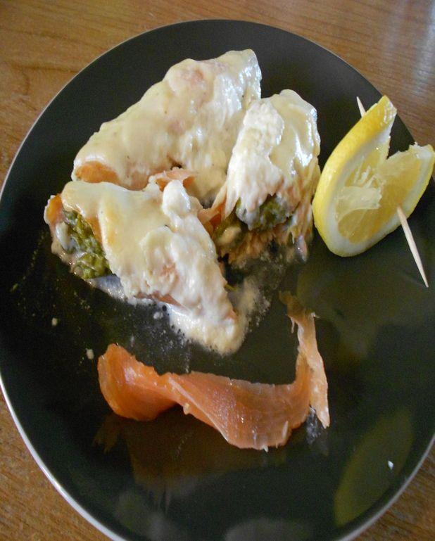 Asperges gratinées au saumon
