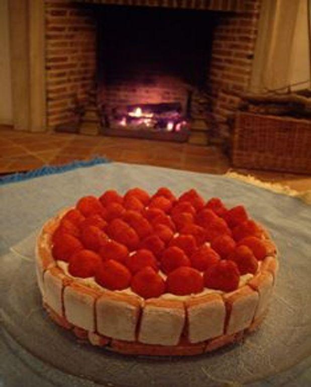 Entremet aux fraises et biscuits roses de Reims