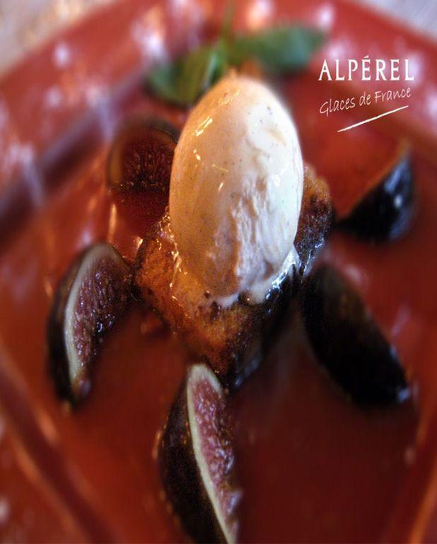 Figues au miel sur pain d'épices, Glace Vanille Bourbon Alpérel