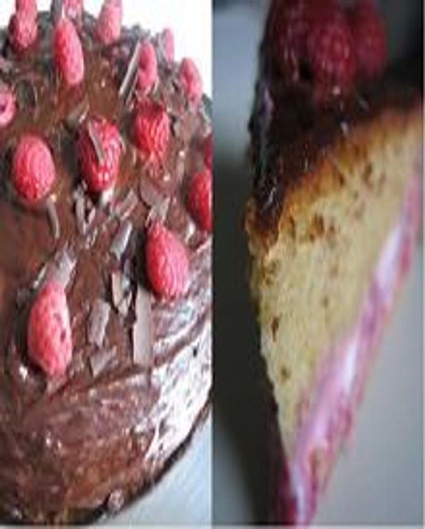 Gâteau fourré ricotta-framboises glaçage chocolat
