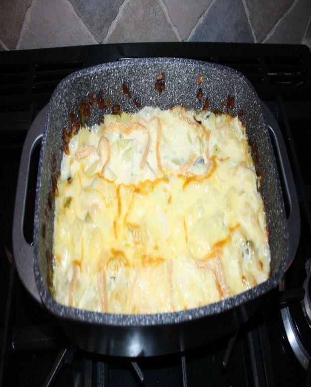 Gratin de poireaux et pommes de terre au vin blanc