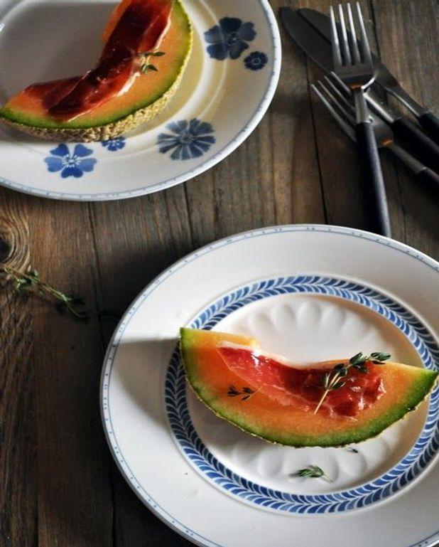 Melon et jambon cru au macvin