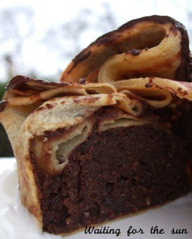 Moelleux chocolat et amandes en umonière de crêpe